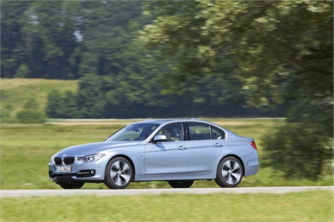 The 2013-MY BMW 3 Series ActiveHybrid 3 sedan.