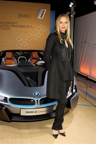 "Actress Uma Thurman helped unveil the BMW i8 Concept Roadster at the opening night party of the BMW i ""Born Electric"" World Tour in New York City."