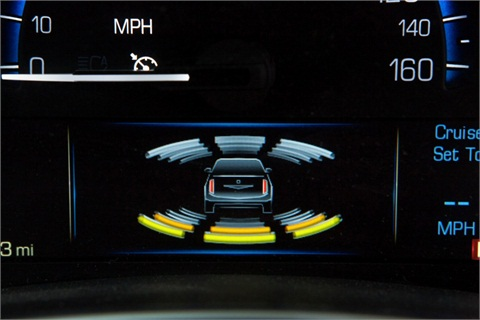 Radars, vision and ultrasonic sensors in Cadillac vehicles constantly analyze road data to determine whether a crash may be imminent. In such cases the vehicle's automatic front and rear braking will engage. (Photo by John F. Martin for Cadillac)