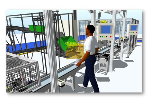 An image from Chrysler's 3D modeling system that it's using to improve its manufacturing processes.