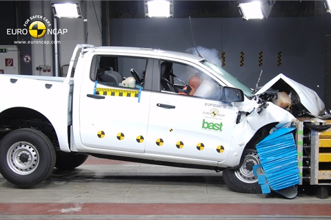 The Ford Ranger undergoes crash tests