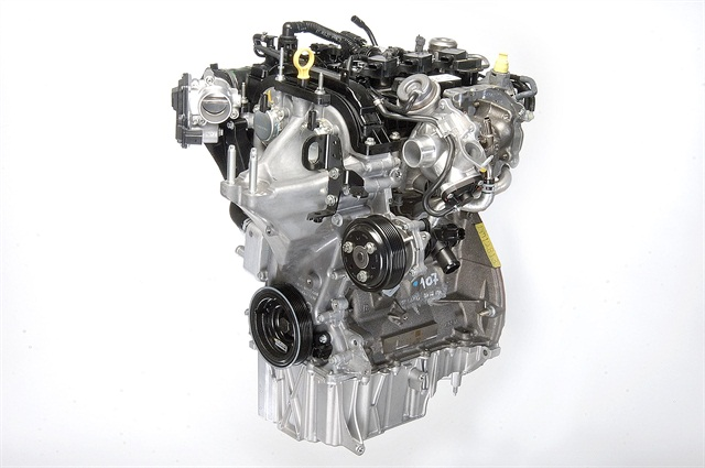 The 1.0L EcoBoost is a three-cylinder engine capable of producing 123 hp. and peak torque of 148 lb.-ft.