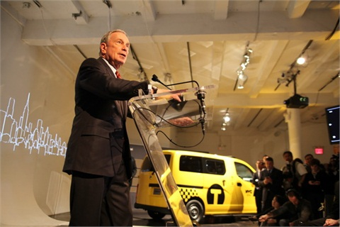 """NYC's Mayor Michael Bloomberg joined Nissan CEO Carlos Ghosn in unveiling the """"Taxi of Tomorrow"""" in early April, 2012.Photo Credit: Kristen Artz"""