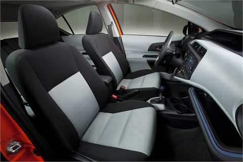 The Prius c's interior comes in black with a number of contrasting, lighter colors available for seat surfaces and interior trim.