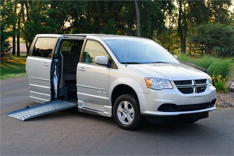 The floor of this Dodge Grand Caravan minivan has been lowered and a ramp installed for easy wheelchair access. Photo courtesy Chrysler.