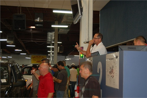 An auction in progress at South Bay Auto Auction.