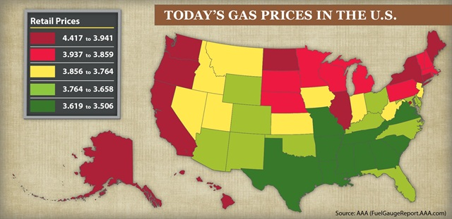 Retail gasoline prices in the U.S. as of Oct. 1, 2012. Source: AAA