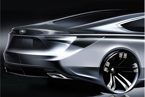 A teaser drawing of Toyota's as-yet unnamed sedan.