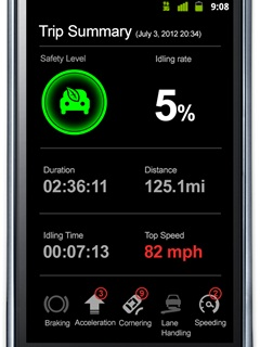 The GreenRoad Smartphone Edition works in conjunction with GreenRoad Central, a web-based fleet management application that can show vehicle location and driving events.