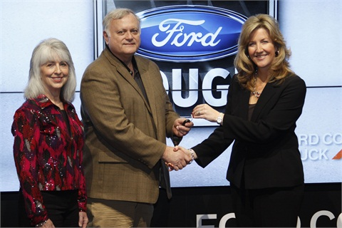 (Right) Natalie Olson, communications and events manager for Ford Motor Company presented the keys to the 2012 Ford F-150 XLT to Barry and Fayla Nanz of Trade & Industrial Supply, Inc.