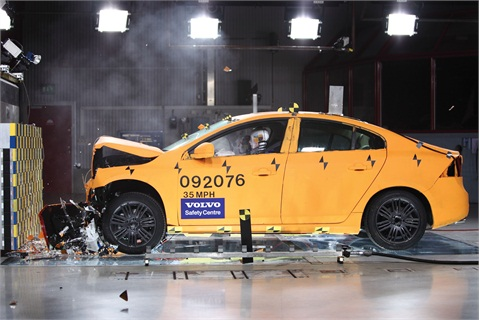 The Volvo S60 participating in a crash test.
