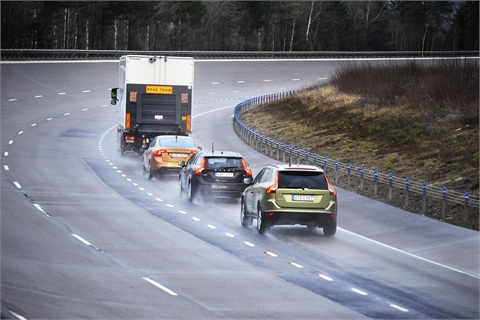 "Volvo conducting its ""road train"" pilot program."