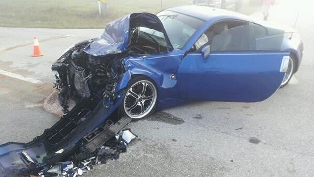 Last week this sports car collided with a school bus during thick