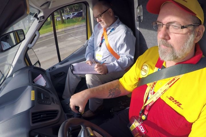 Photo of courier during driving stage of competition courtesy of DHL.