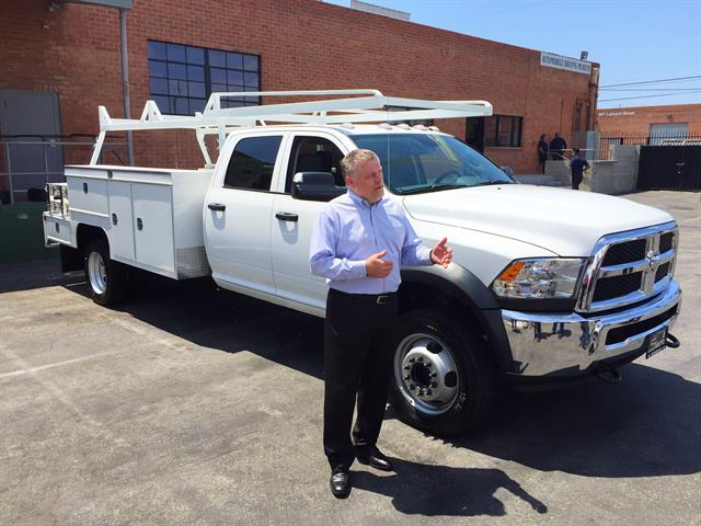 Dave Sowers, head of Ram Truck marketing, commercial vehicles, shows