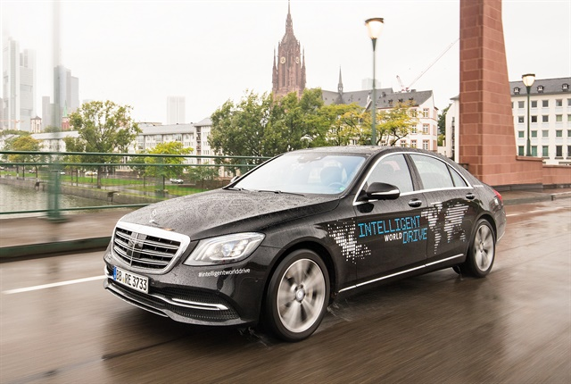 Photo of the Mercedes-Benz autonomous S-Class in Frankfurt, Germany, courtesy of Daimler.