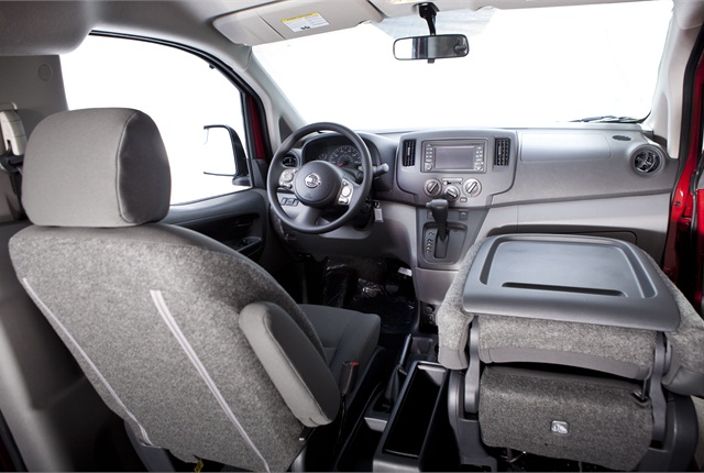 "The Nissan NV200 Compact Cargo Van's interior is designed to function as a ""mobile office."""