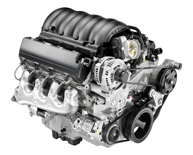 The 6.2L V-8 engine is available in the 2014 GMC Sierra SLT and Denali