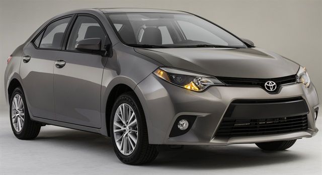The 2014 Toyota Corolla features new styling, a longer wheelbase, and a mileage rating of more than 40 mpg.