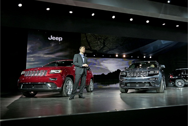 Mike Manley, President and CEO – Jeep Brand, Chrysler Group LLC, unveiled the all-new Jeep Grand Cherokee at the North American International Auto Show. Photo courtesy of Chrysler Group.