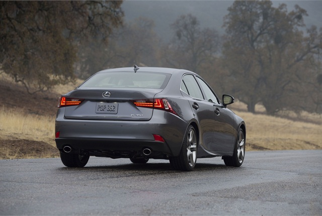 Toyota said the 2014 Lexus IS' design shows off the vehicle's rear tires and low center of gravity. Photo courtesy Toyota.