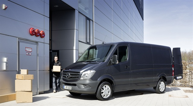 Mercedes said the redesigned 2014-MY Sprinter van will come with a four-cylinder diesel engine as standard. Photo courtesy Mercedes.