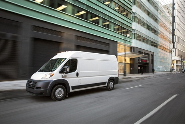 Inside, the ProMaster features single seats or bench seats up front. Photo courtesy Chrysler Group.