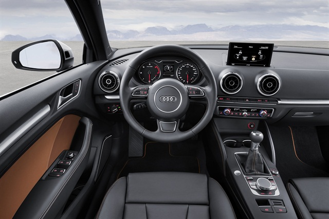 Audi said leather is standard in the all-new 2015 A3. Photo courtesy Audi of America.