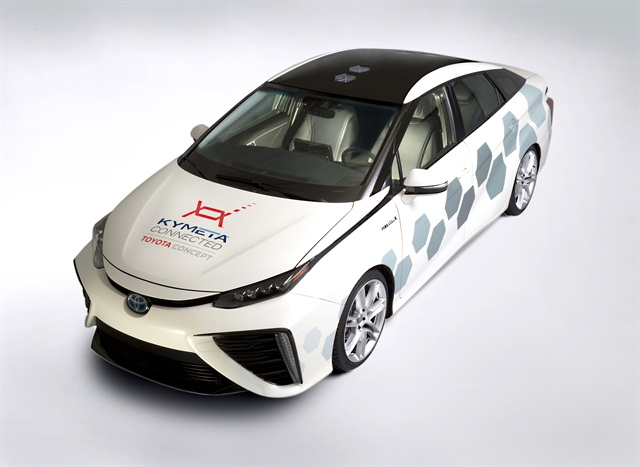 Photo of the Mirai-based Kymeta research vehicle courtesy of Toyota.