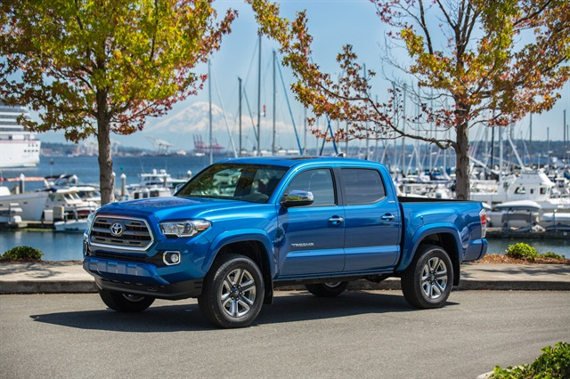 Photo of 2016 Tacoma mid-size pickup truck courtesy of Toyota.