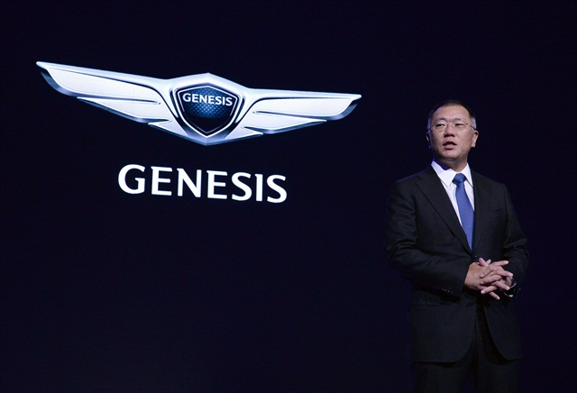 Photo of Euisun Chung, vice chairman, announcing the Genesis luxury brand courtesy of Hyundai.