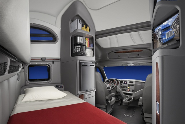 Peterbilt introduced a new cab interior for the aerodynamic Model 587.