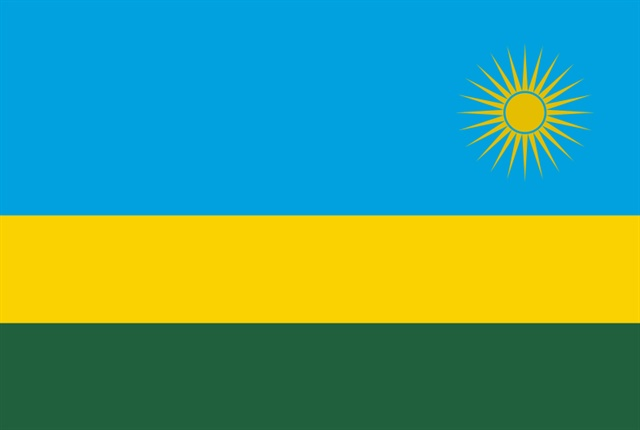 The Rwanda flag courtesy of Wikimedia commons.