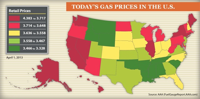 Gas prices in 48 out of 50 states are less than $4 per gallon, according to a new report from AAA. Photo courtesy AAA.