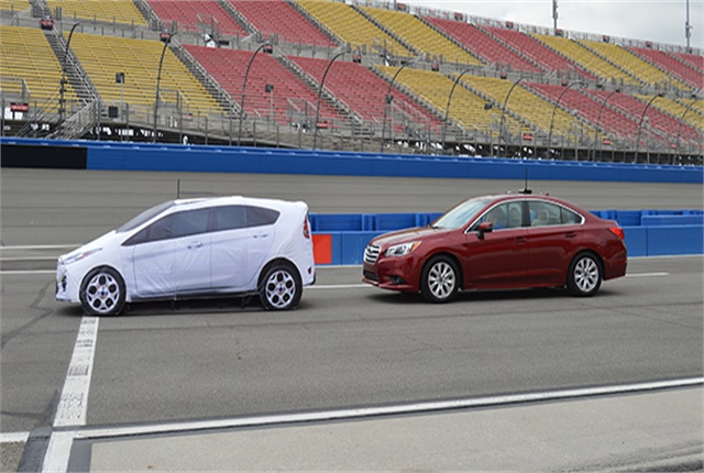 AAA conducted testing of automatic emergency braking systems on a closed course at the Auto Club Speedway in Fontana, Calif. Photo courtesy of AAA.