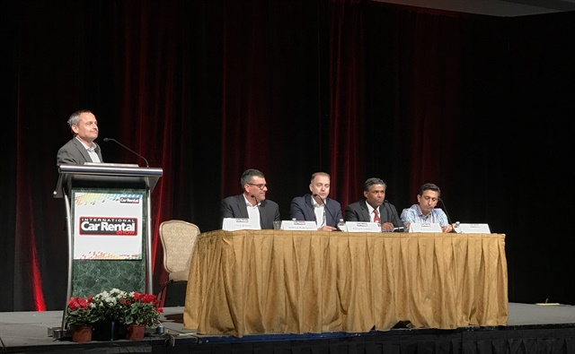 Auto Rental News Executive Editor Chris Brown leads the closing keynote panel Tuesday, along with Fox Rent-A-Car's Gaurav Kohli, Alix Partner's Arun Kumar, Green Motion's Richard Lowden, and FPG's Andrew Rodriguez. Photo: Michaela Kwoka-Coleman.