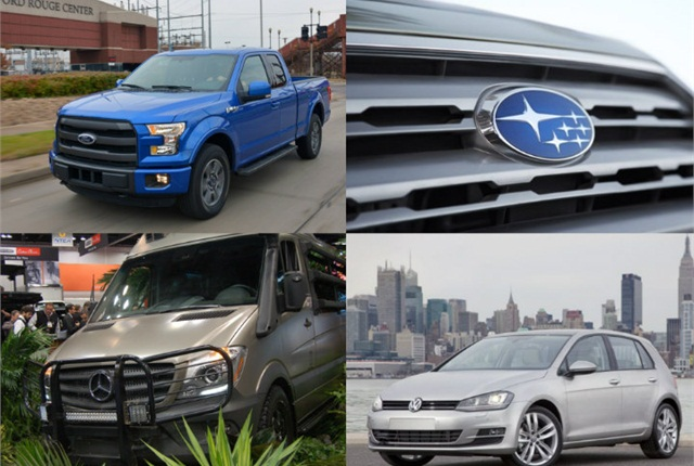 (Clockwise l. to r.) Ford's heavy payload F-150; Subaru's 2016-MY ordering; 2015 Volkswagen Golf as CR top vehicle; and Mercedes-Benz super high roof Sprinter