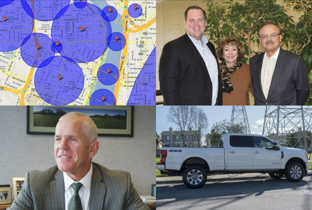 (clockwise from l. to r.) Telematics, Element and CEI, Ford's F-250, and Enterprise Fleet Management's Adamson