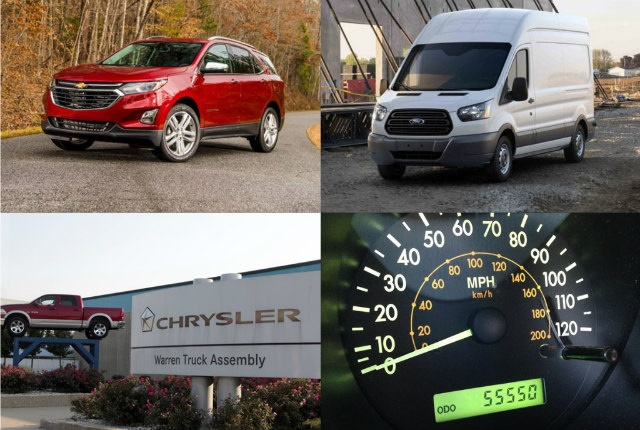 (clockwise upper l. to r.) Chevrolet's diesel Equinox, Ford's 2018 Transit van, FCA's 2018-MY ordering, and the IRS reimbursement rate