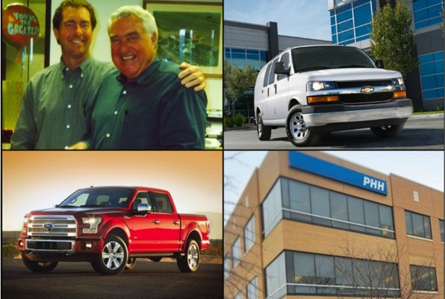 (Clockwise from l. to r.) Ty and Ed Bobit; GM's Chevrolet Express, PHH Corp. headquarters; and Ford's 2015 F-150