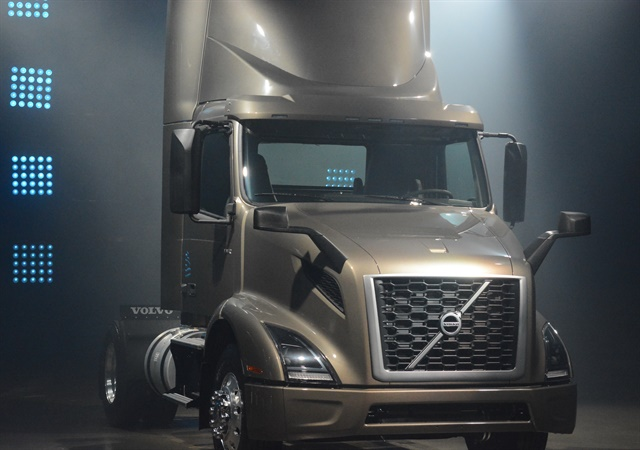 <p><strong>Volvo's VNR 300 regional truck launched in Montreal on April 19, 2017.</strong> <em>Photo by Jim Park</em></p>