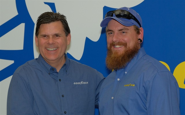 <p><strong>Gary Medalis (left), Goodyear marketing director, with finalist Ryan Moody of Tacoma, Washington. Photo: Jim Park<em><br /></em><br /></strong></p>
