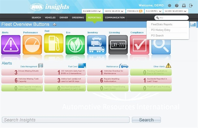 ARI said it enhanced the UI of its ARI insights fleet management system. Screenshot courtesy ARI.