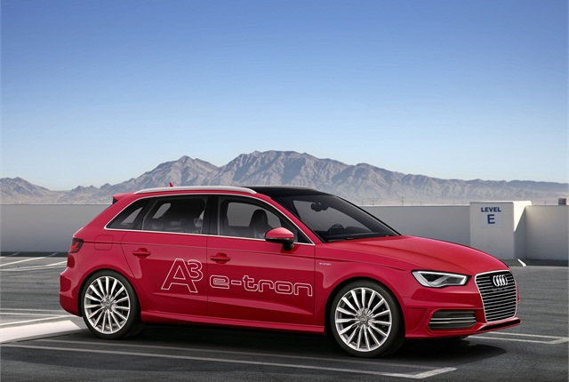 The Audi A3 e-tron is a plug-in hybrid from Audi that the automaker plans to show in Geneva. Photo courtesy Audi.
