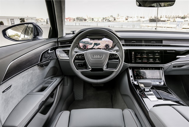 Photo of the 2019 A8 cabin courtesy of Audi.