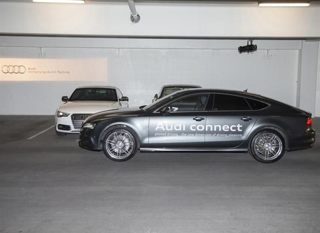 <p>Audi's piloted parking technology allows the vehicle to park itself. Photo courtesy Audi.</p>