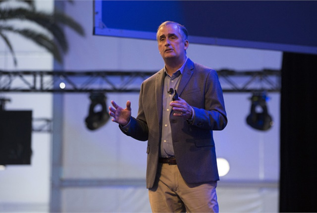 Intel CEO Brian Krzanich delivers the keynote address at the LA Auto Show's AutoMobility Conference. Photo courtesy of Intel.