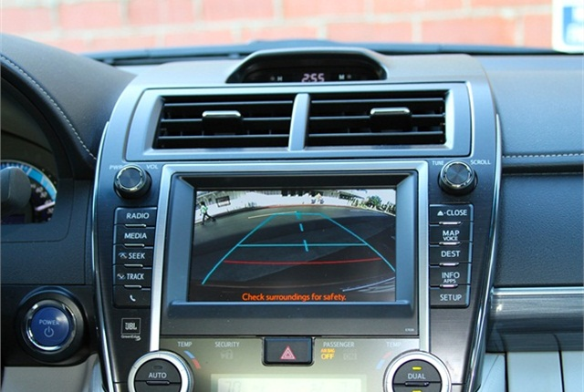 A rear-view camera system in a Toyota Camry.