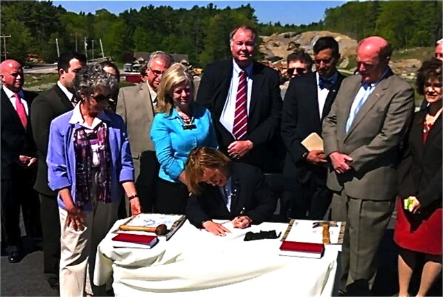 N.H. Gov. Maggie Hassan signing new transportation legislation. Credit: N.H. Governor's Office Twitter feed.