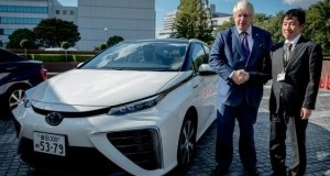 London Mayor Boris Johnson (left) visited Toyota HQ where he test drove a Mirai hydrogen fuel cell sedan. Photo: Toyota